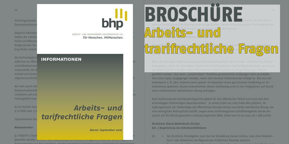"""Broschüre """"Arbeits- und tarifrechtliche Fragen"""""""