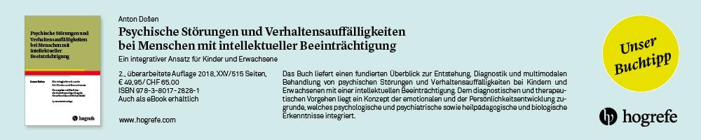 Anzeige Hogrefe Verlag: Psychische Störungen und Verhaltensauffälligkeiten bei Menschen mit intellektueller Beeinträchtigung