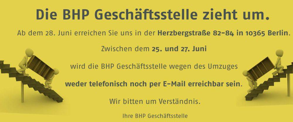 Die BHP Geschäftsstelle zieht um!