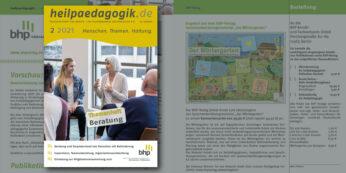 Cover und Abbildung einer Inhaltsseite der heilpaedaogik.de 2021-2
